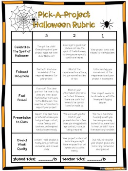 Halloween Writing Activities w/ Choice menu, rubric, & activity templates