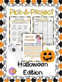 Halloween Writing Activities w/ Choice menu, rubric, & activity templates