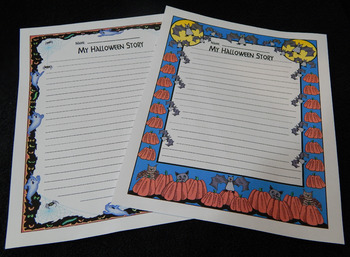 Halloween Writing Activities: Halloween Roll-A-Story Language Arts Center -Color