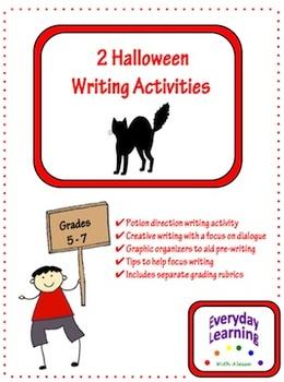 Halloween Writing Activities w/ Organizers and Rubrics