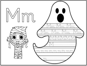 Halloween Writing Activity - Alphabet Tracing - sassoon font