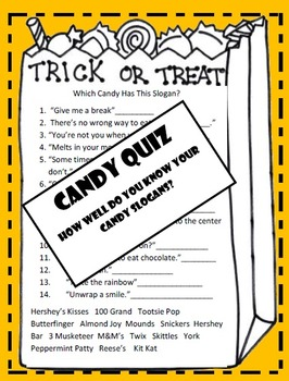 Halloween -Writing Activity - Candy Quiz  How Well Do You Know Your Candy?