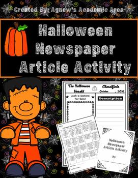 Halloween Writing: Newspaper Article Activity