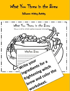 Halloween - Writing Activity - What You Threw in the Brew