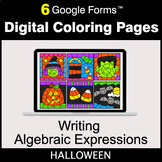 Halloween: Writing Algebraic Expressions - Google Forms   Digital Coloring Pages