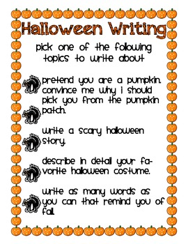 Halloween Writing Assignment