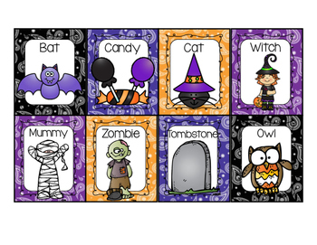 Halloween Writing Center Display Cards