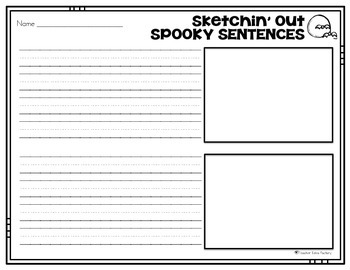 Halloween Writing Center - Freebie {Sketchin' Out Spooky Sentences}