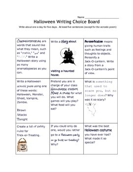 Halloween Writing Choice Board (Differentiation)
