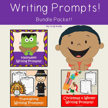 Halloween, Thanksgiving & Christmas Writing Prompts Bundle (First Grade Writing)
