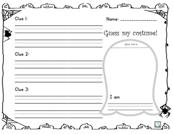 Halloween Writing: Guess my Costume-Riddle