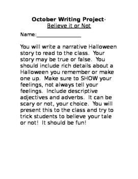 Halloween Writing Narrative Assignment Activity