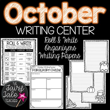 Month-Long October Writing Center Cards and Papers