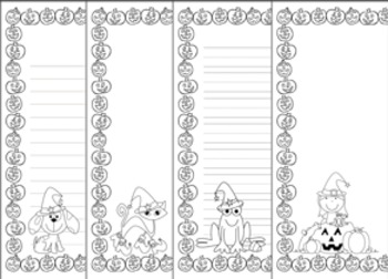 Halloween Writing Paper - Black and White - 3 Styles