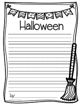 Halloween Writing Paper Freebie - Kindergarten Lines by honeybee