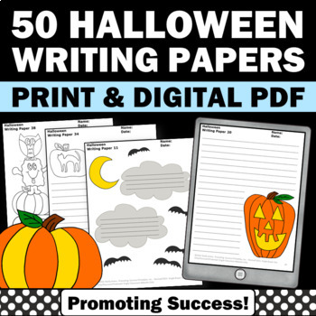 Halloween Writing Paper, Picture Prompts, Creative Writing Activities