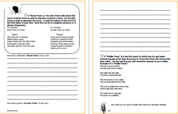 Halloween Poetry Writing Projects!  Students Compose Several Halloween Poems!