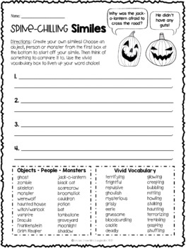 Halloween Writing Activities and Printables: Synonyms, Similes, Dialogue