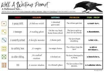 Halloween Roll-A Writing Prompts