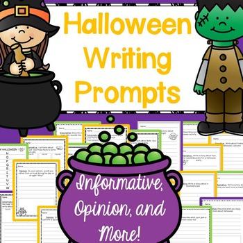 Halloween Writing Prompts: CCSS Informative, Opinion, Narrative, Descriptive