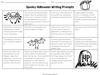 Halloween Writing Prompts Choice Board for Middle School