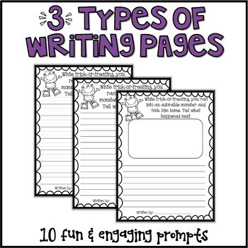 Halloween Writing Prompts & Page Topper Craftivities