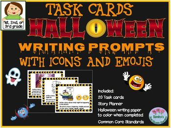 Halloween Writing Prompts Task Cards - Infer Icons and Emojis to Write a Story