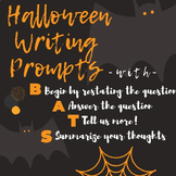 Halloween Writing Prompts using B.A.T.S. Writing Organizat