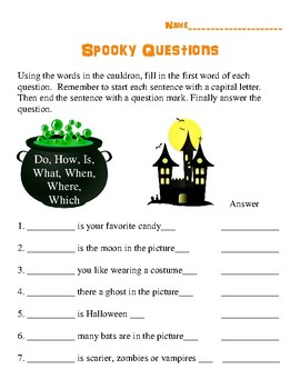 Halloween Writing Question Words