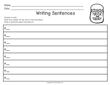 Halloween Writing Sentences Task Cards