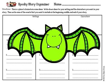 Halloween Writing: Spooky Story Starters with Rubric and Framed Paper