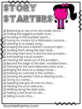 Halloween Writing {Story Starters} Journal Prompts ~ Writing Center ~ Checklist