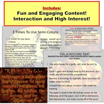 Halloween Writing Tricks and Treats PowerPoint: Semi-Colons and Colons