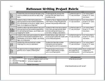 Halloween Writing for Teens: Choice Menu with 40 Prompts {October}