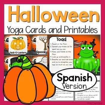 Halloween Yoga Cards and Printables- SPANISH ESPANOL VERSION