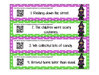 Halloween ZAP! Complete Sentences and Sentence Fragments
