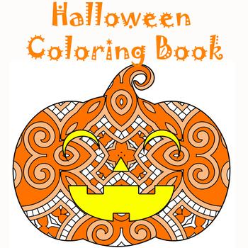Halloween Zentangle & Mandala Coloring Pages- Halloween Theme Coloring Sheets