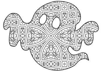 Halloween Zentangle Mandala Coloring Pages Theme Sheets