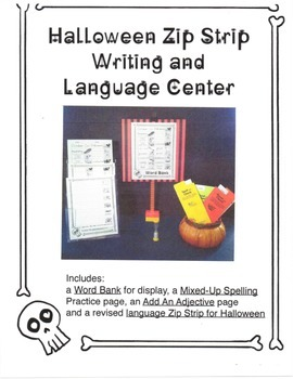 Halloween Zip Strip Writing and Language Center