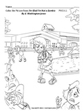 Coloring Page Zombie Going to School (with instructions)