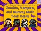 Halloween Zombie, Vampire, and Mummy Math Task Cards