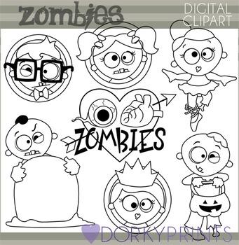 Halloween Zombies Blackline Clip Art