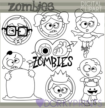Halloween Zombies Blackline Clip Art