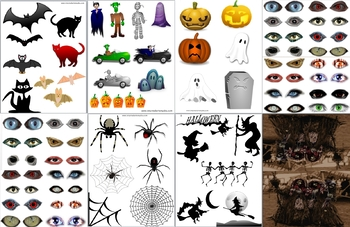 Halloween activity printable A4 sheets for craft - spooky eyes, scary mask, stic