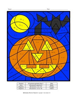 Halloween adding and subtracting integers