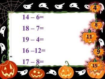 Halloween Activities - Pumpkins - Addition and Subtraction to 20 - Interactive