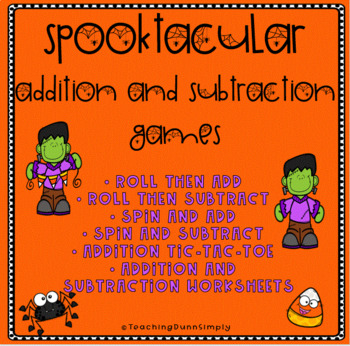 Halloween addition and subtraction worksheets and games - NO PREP!