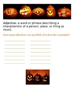 Halloween adjective activity