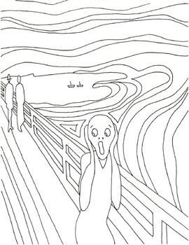 "Halloween alternative - Edvard Munch's The Scream"" coloring book page"