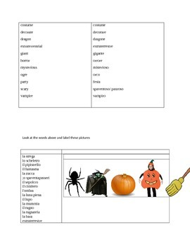 Halloween: an activity in Italian